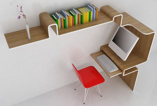 Comment avoir un bureau design gr ce la chaise de bureau for Meuble mural ordinateur
